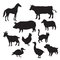 Stock Image : Silhouettes of domestic animals