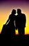 Stock Image : Silhouettes of young couple at sunset