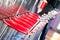 Stock Image :  Sillas rojas en la barra, restaurante