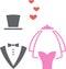 Stock Image :  Siluette di nozze