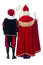 Stock Image : Sinterklaas and Black Pete from the back