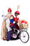 Stock Image : Sinterklaas and Black Pete on a bike