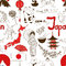 Stock Image : Sketch Japan seamless pattern