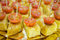 Stock Image : Skewer of potatoes omelette with cherry tomato