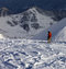Stock Image : Skier on off-piste slope in sunny evening