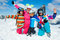 Stock Image : Skiing  winter fun. Happy family