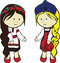 Stock Image : Slavic girls in costumes