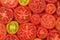 Stock Image : Sliced tomatoes background.