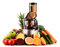 Slow juicer with organic fruits and vegetables on white