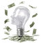 Stock Image : Smart bulb and money