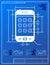 Stock Image : Smartphone like blueprint drawing