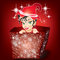 Stock Image : Smiling Elf in a Parcel in Red