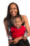 Stock Image : Smiling Mom Holding Baby Boy Closeup Portrait Isolated