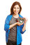 Stock Image : Smiling woman holding many hearts