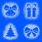 Stock Image : Snow mark of christmas objects on blue set