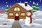 Stock Image : Snowman in front of a house