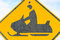 Stock Image : Snowmobile warning sign