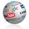Stock Image : Social media logos globe