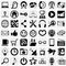 Stock Image : Social media vector icon set on gray