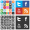 Stock Image : Social network flat multi colored icons
