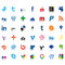 Stock Image : Social network icons colored