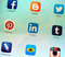 Stock Image : Social networking applications on Apple iPad retina display