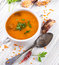 Stock Image : Soup of bulgur and lentils with smoked