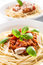 Stock Image : Spaghetti Bolognese with cheese and basil