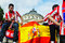 Stock Image : Spanish fans celebrating near Romanian Atheneum