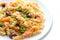 Stock Image : Spiraalvormige deegwaren met rookzalm en broccoli