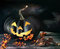 Stock Image : Spooky pumpkin on table