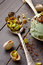 Stock Image : Spoon with chopped pistachios