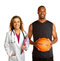 Stock Image : Sports doctor with basketball player
