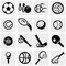 Sports vector icons set on gray.