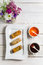 Stock Image : Spring rolls and chili sauce