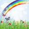 Stock Image : Springtime background with rainbow