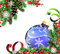Stock Image : Spruce branches and blue Christmas ball