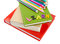 Stock Image : Stack ob books, pencils and word learn