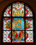 Stock Image : Stained glass window with emblem