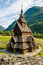 Stock Image : The stave church (wooden church) Borgund, Norway