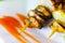 Stock Image : Steak of mussels on wooden skewers, selective focus