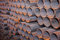 Stock Image : Steel pipes bunch in warehouse