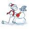 Stock Image : Stick figure builds a snowman