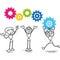 Stock Image : Stick figure cogs teamwork strategy