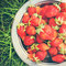Stock Image : Strawberry on Green Grass, toned