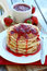 Stock Image : Strawberry Poppy Seed Pancakes.