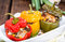 Stock Image : Stuffed Peppers (with Meat, Herbs and Cheese)