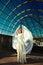 Stock Image : Stylish blond bride girl model in wedding dress