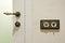Stock Image : Stylish vintage brass light switchers and door knob