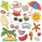 Summer Beach Rest Icons Set